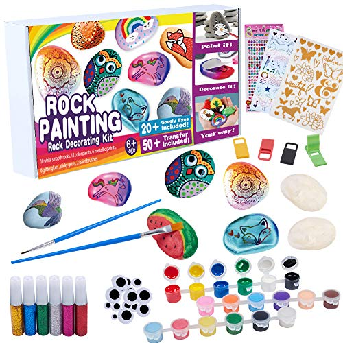 Rock Painting Kit for Kids - DIY Arts and Crafts Set for Girls Boys Ages 3-12, Fun Outdoor Activities with 10 Stones, 18 Acrylic Paints, 2 Brushes, 24 Googly Eyes, 3 Transfer Sheets, 4 Display Holder