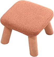FJFDZ Cloth Solid Color Footstool,Padded Cushion Square Change Shoe Bench Solid Wood Tripod,Living Room Home Decoration Fu...