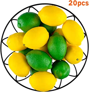 20 PCS Artificial Lemons and Limes, 3.7'' X 2.56'' Fake Fruit Lemons Artificial Lifelike Simulation Lemon for Home House Kitchen Party Decoration