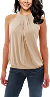 Yesfashion Women Sleeveless Halter Twisted Pleated Tank Top Blouse