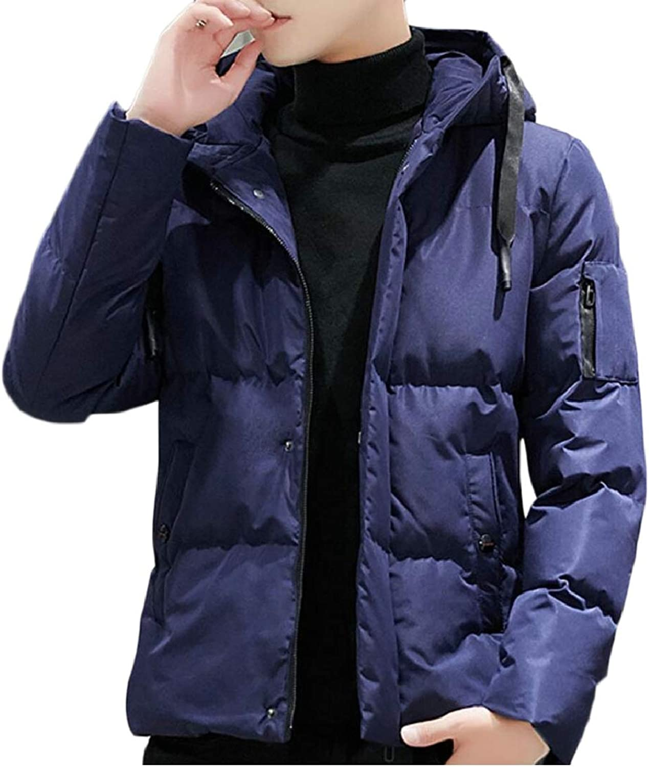 cee47e59c3 Pujingge-CA Mens Slim Solid Zip Casual Casual Casual Thick Padded Hooded  Down Jacket Coat 9b4c2f