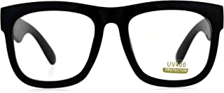 Black Oversized Square Glasses Thick Horn Rim Clear Lens...