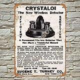 No/Brand 1915 Crystaloi Wireless Detector Cartel de Chapa Metal Advertencia Placa de Chapa de Hierro Retro Cartel Vintage para Dormitorio Pared Familiar Aluminio Arte Decoración