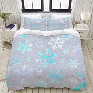 "Mokale Bedding Duvet Cover 3 Piece Set - Snowflake Winter Christmas Tree Holiday First Tree Season December Snow Star Print - Decorative Hotel Dorm Comforter Cover with 2 Pollow Shams - King 104""X90"""