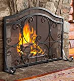 Plow & Hearth Small Crest Flat Guard Fireplace Screen, Solid Wrought Iron Frame with Metal Mesh, Decorative Scroll Design, Free Standing Spark Guard, 38 W x 31 H x 13 D, Black Finish