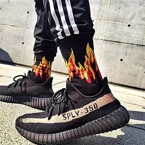 WZQQ Mens Fashion Flamme Muster Hip Hop lustige Herren Socken Jacquard Feuer Socken Street Skateboard Baumwolle Socken Mens Streetwear,E