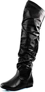 DailyShoes Women's Fashion-Hi Over-The-Knee Thigh High Flat Slouchly Shaft Low Heel Boots