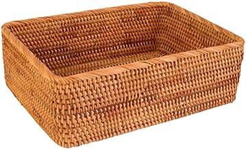 YAYADU Storage Basket Rattan Rectangular Finishing Box Coffee Tables Locker Bed Dressing Table Store Fruit Books Clothes (...