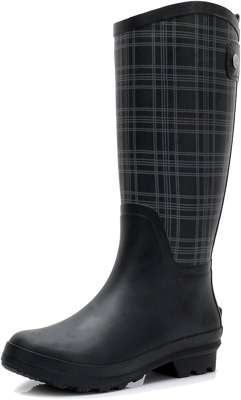 Women's Wellington Lightweight Rain Boots Original Tall Rubber Boots Wide Calf Waterproof Galoshes