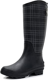 Women's Wellington Lightweight Rain Boots Original Tall Rubber Boots Wide Calf Waterproof Galoshes