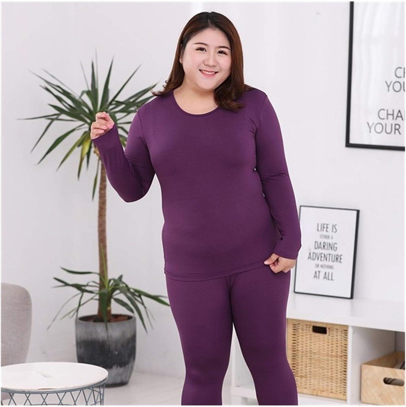 QWERBAM Plus Size Women Thermal Underwear Suits Fiber Super Elastic Warm Sets Oversize Winter Clothing L-6XL (Color : Purple, Size : 5XL.)