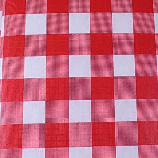 Exquisite Flannel Backed Vinyl Tablecloths, Solid Color Premium Quality Waterproof Table Cover (70 Inch. Round, Red Gingham (Checkerboard))