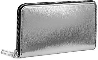 DailyObjects Durable Slim Portable Multipurpose Faux Leather Metallic Zipper Classic Wallet for Girls/Women (Color - Silver)