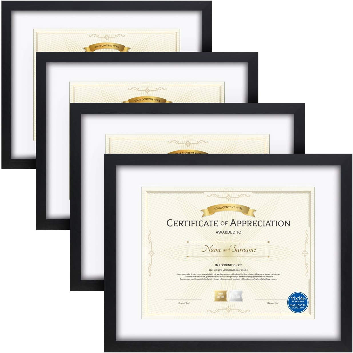 Certificate Opening Max 48% OFF large release sale Frames Document Frame 4PK Made Wood Solid HD Glas of