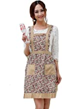 Hyzrz Newly Pastoral Style Fashion Flower Pattern Housewife Home Chef Cooking Cotton Apron Bib with Pockets 1#