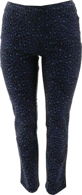 Denim & Co. Leopard Knit Denim Straight Leg Pants Dark Indigo 18W New A368020