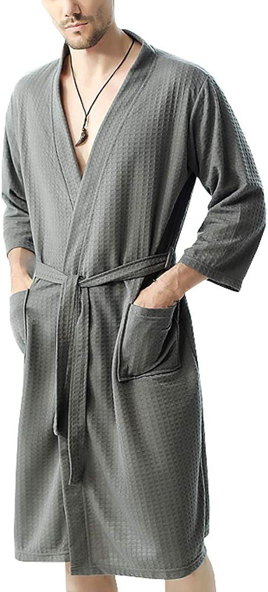KM bathrobe Men's Thin Waffle Bathrobe Shawl Collar Spa Robe Sleepwear