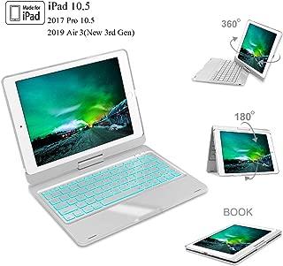 iPad 10.5 Keyboard Case for iPad Pro 10.5 inch 2017, New iPad Air 3rd Gen 10.5 inch 2019,360° Rotatable, 7 Colors Backlit, Auto Sleep/Wake, iPad Keyboard with Case 10.5 Inch, Silver