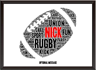 PERSONALISED Rugby Gifts for Him. Rugby Ball Word Cloud