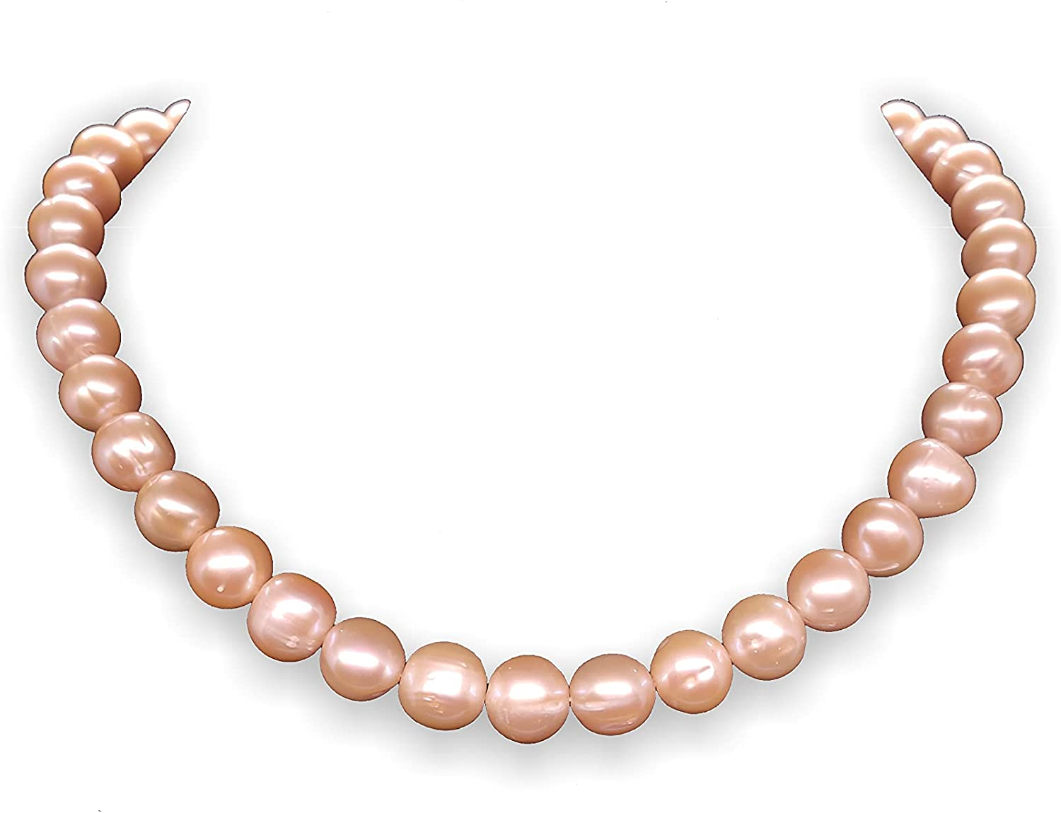 Genuine Freshwater Cultured Pearls Strand for Necklace or Bracelets (15.5in., 9 to 10mm Pearls, Natural Faint Pink, No Clasp)