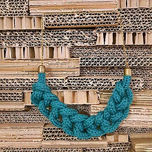 Collana Collezione Filo in lana bio Colore verde petrolio