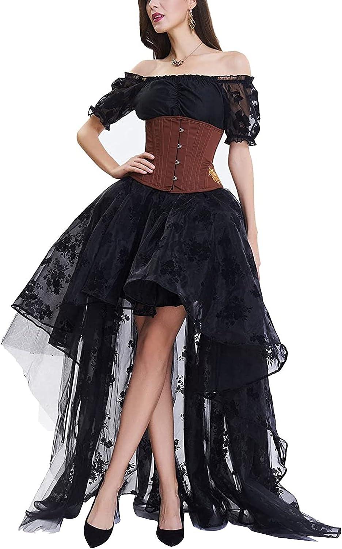 ZOWEN Women's Chic Wedding Skirt Elegant Full Short Back Length Lace Embroidery Skirt Gothic Style Club Party Dress Skirt