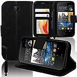VCOMP HTC Desire 310: Custodia portafoglio cuoio PU A libro falda supporto video + pennino - NERO