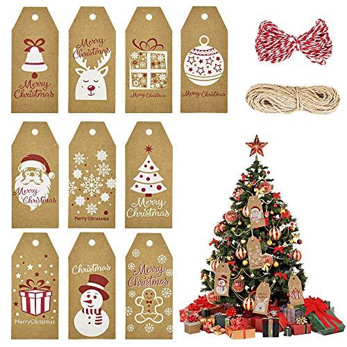 PERFETSELL 100 Pcs Etiquetas Regalos Navidad Etiquetas Colgantes Papel Kraft para Arbol de Nvidad Colgante de Regalo Tarjeta Regalo para Arbol de Navidad Regalo Vino + 2 Rollos de Hilo de 10 Metros
