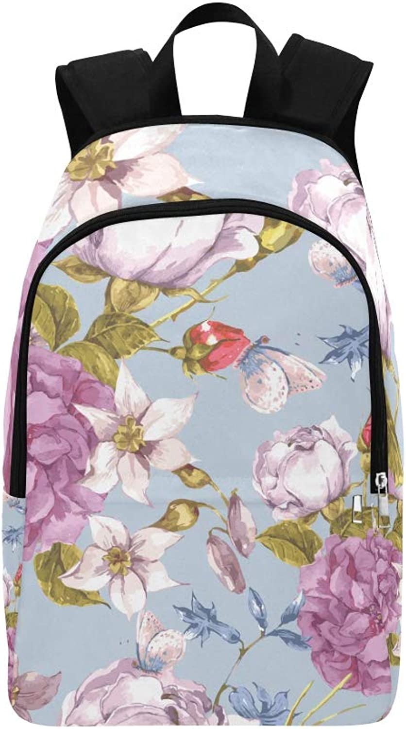 Beautiful Birds and Flowers Hand Drawn Watercolor Casual Daypack Travel Bag College School Backpack for Mens and Women
