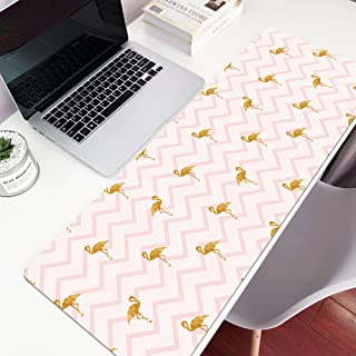 Tapis de souris Fille Ins Vent Simple Géométrique Nordique Texture Grand Clavier Table Tapis Ins flamingo poudre rayures 16X35X0.16 in