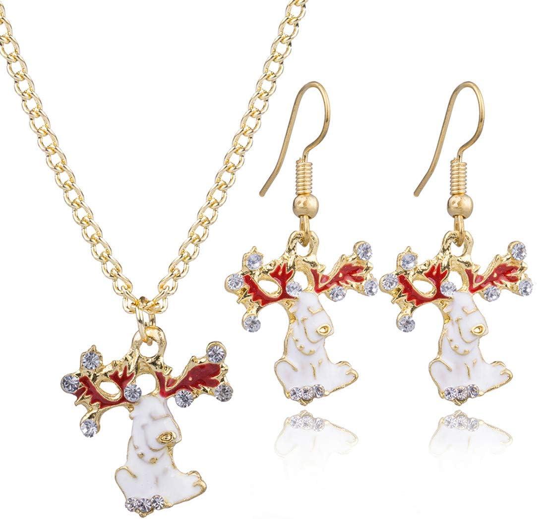 Idiytip Rhinestone Christmas Reindeer Pendant Necklace Fishhook Drop Dangle Earrings Gift Women Jewellery Set