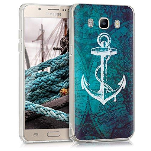 kwmobile Hülle kompatibel mit Samsung Galaxy J5 (2016) DUOS - Handyhülle - Handy Case Anker Landkarte Weiß Blau