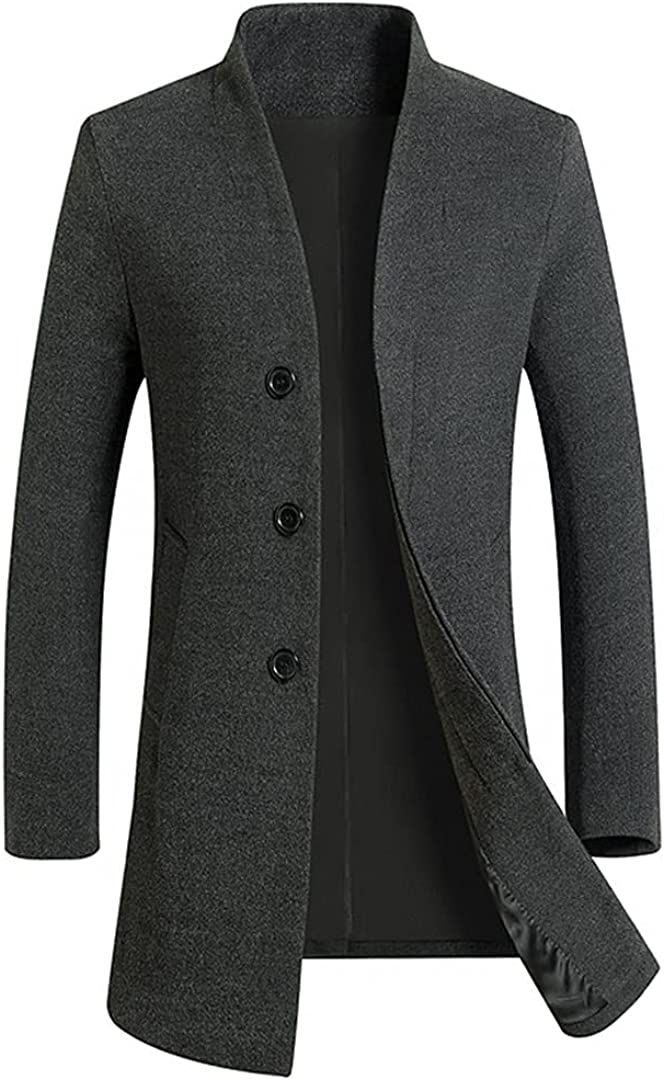 Men's Casual Long Wool Blends Trench Coat / Male Solid Color Thick Business Windbreaker Jacket GRAY 3XL