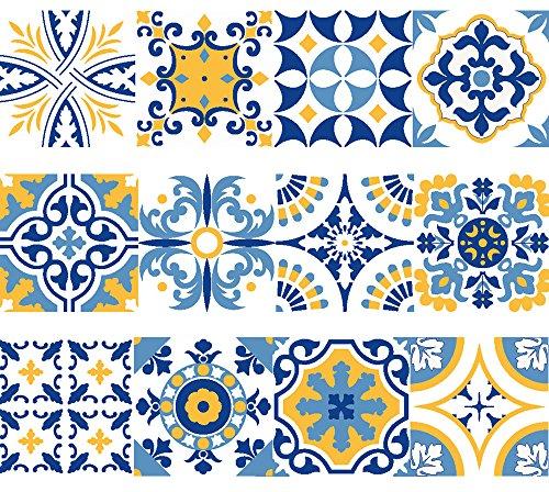 Vinyl Aufkleber Streifen Abnehmbare Selbstklebende Wandtattoo Fliesen von Portugiesisch Design. Alfama Kollektion (Set von 15) (5,1 x 20,3 cm |5 X 20 cm)