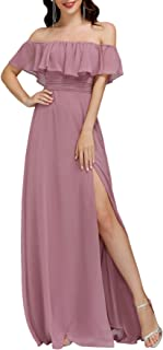 Ever-Pretty Womens Off The Shoulder Ruffle Party Dresses Side Split Beach Maxi Dress 07679