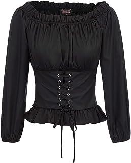 SCARLET DARKNESS Womens Renaissance Peasant Shirt Off Shoulder Boho Blouse Top