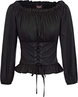 Womens Renaissance Long Sleeve Shirt Off Shoulder Boho Blouse Top