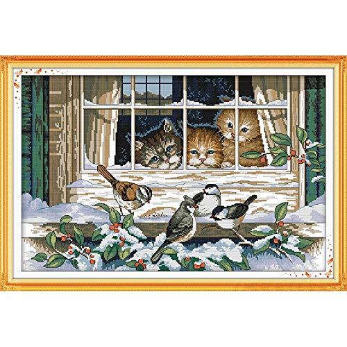 Everlasting Love Weihnachtslandschaft Aus Dem Fenster Heraus Chinese Kreuzstichpackungen Ökologische Baumwolle Kreuzstich-Malerei (Cross Stitch Fabric CT number : 11CT counted product)