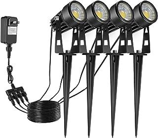 ECOWHO Landscape Lighting, 12V LED Low Voltage Landscape Lights Waterproof Outdoor Spotlights with Plug, Landscape Spot Light for Flood Yard Garden Path (Warm White, 4 Pack)