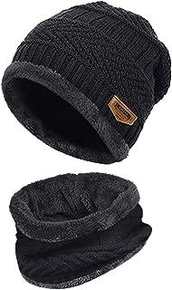 CUCUHAM Men Warm Beanie Winter Thicken Hat and Scarf Two-Piece Knit Windproof Cap