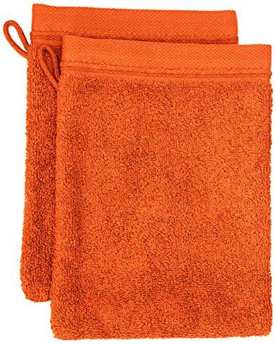 BLANC CERISE 600255 Lot de 2 Gants de Toilette Coton Orange
