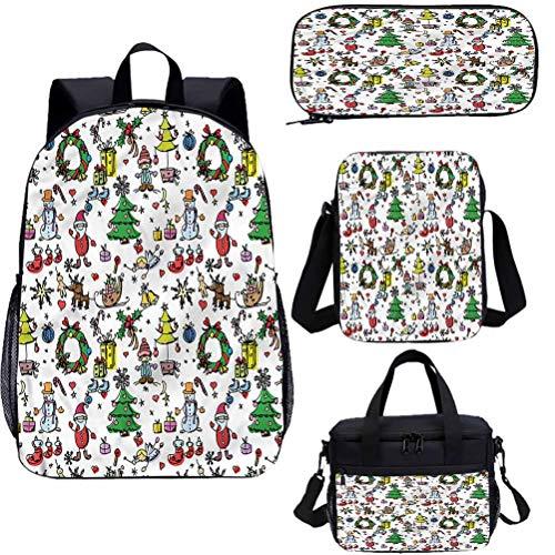 Doodle - Juego de bolsas de almuerzo de 15 pulgadas, diseño de dibujos animados de Navidad 4 en 1