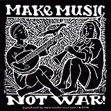 Make Music, Not War - Peace / Anti-War Small Bumper Sticker / Decal (3' X 3')
