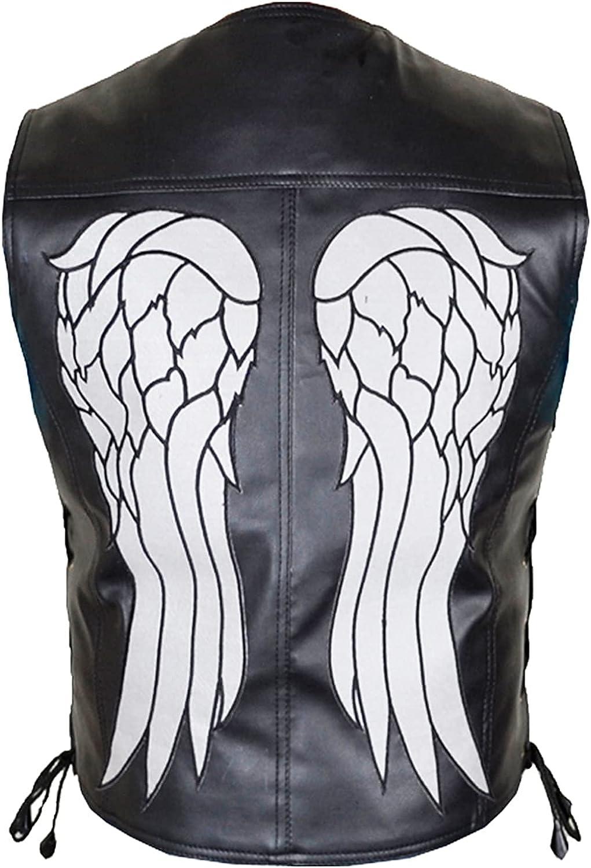 HiFacon Mens Leather Angel Wings Vest for Men Motorcycle Biker Black Leather