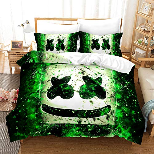 BEDSERG Duvet Cover Set 3D Printed Green smiley Double 78.74 x 78.74 inch Bedding Duvet Cover Set with Zipper Closure for Kids Boys Teen Soft Microfiber