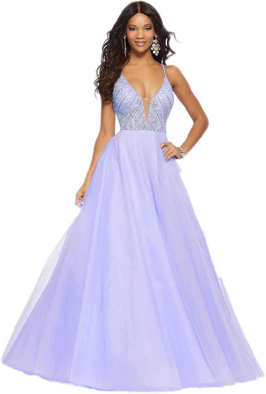 Jerald Norton Ltd Women Deep V Neck Spaghetti Strap Dress Tulle Beaded Long Prom Ball Gown Dress