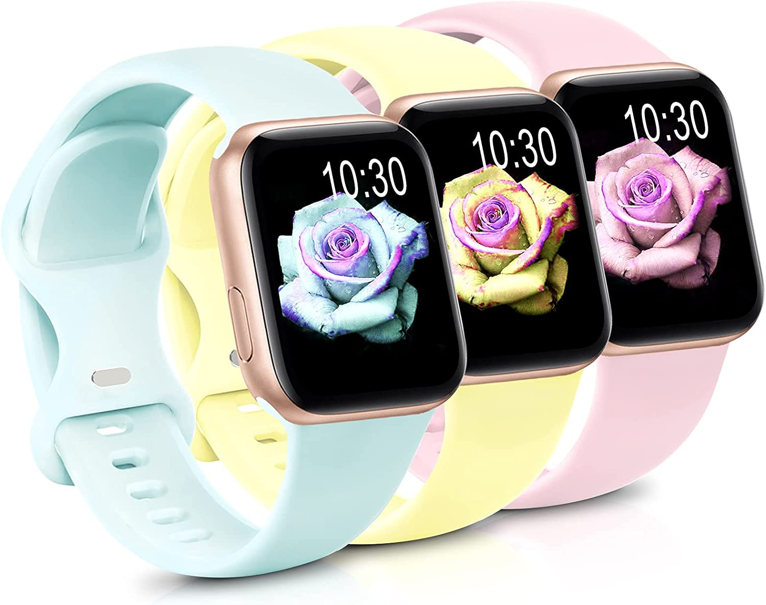 Sport Band Compatible with Apple Watch iWatch Bands 42mm 44mm 38mm 40mm ,Soft Silicone Strap Wristbands for Apple Watch Series 3 6 5 4 2 1 SE Women Men Pack 3,Goose Yellow/Pink/Light Green,42/44mm,M/L