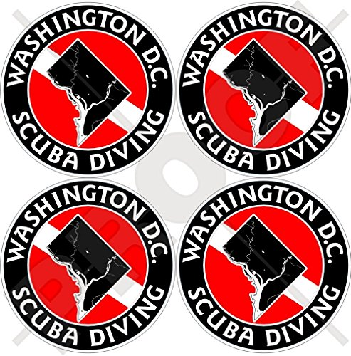 DISTRICT of COLUMBIA SCUBA DIVING Flag-Washington DC Map Shape USA, America 50mm (2