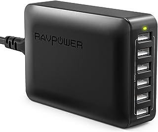 RAVPower 6-Port USB Desktop Charger with iSmart Technology - Black (Renewed)