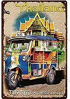 タイ ビンテージ スタイル メタル サイン アイアン ペインティング 屋内 & アウトドア ホーム バー コーヒー キッチン 壁の装飾 8 × 12 インチ